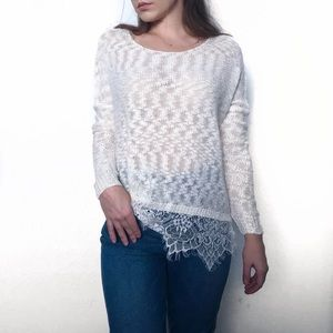 Lightweight Cream Sweater with Lace
